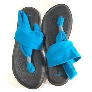 Sanuk Yoga Mat Sling Sandals bright blue size 8